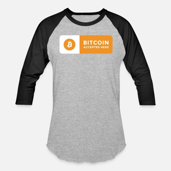 Bitcoin T-Shirts - Bitcoin Accepted Here Logo Symbol Cryptocurrency - Unisex Baseball T-Shirt heather gray/black