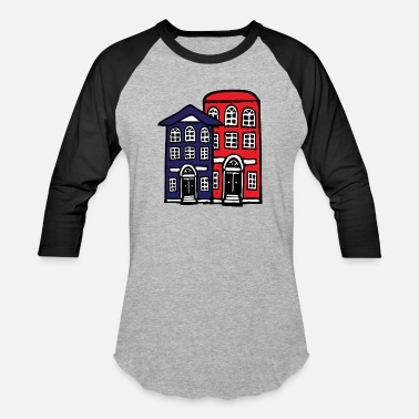 Building Building Buildings Red and Blue - Unisex Baseball T-Shirt