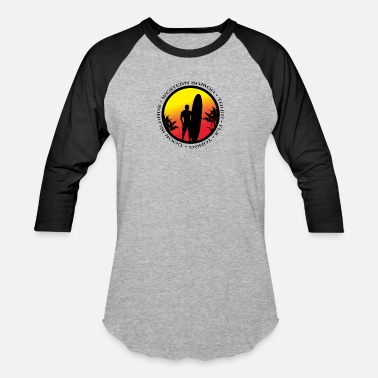 Pacific Pacific Islands Surfing Cool Sunset Surfer Palm - Unisex Baseball T-Shirt