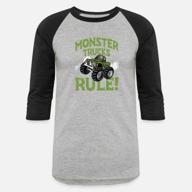 e0d8f1ee9b91e Monster Truck Monster Trucks Rule! big tired huge engine - Unisex Baseball  T-Shirt