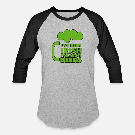 Funny Irish T-Shirts - Funny Irish Beer - Unisex Baseball T-Shirt heather gray/black