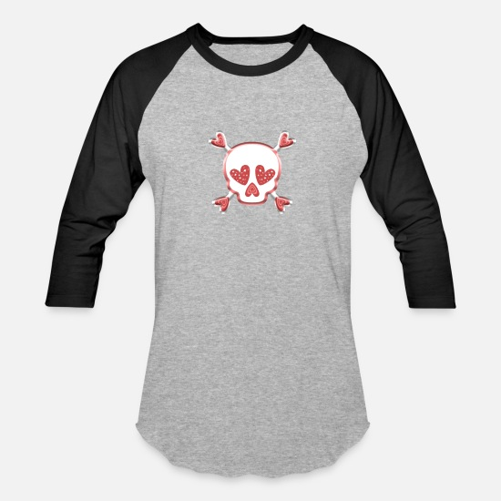Pink T-Shirts - Cute Pink Heart Skull and Crossbones graphic - Unisex Baseball T-Shirt heather gray/black