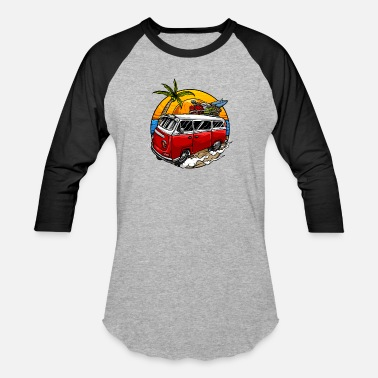 Pngtree holiday vintage car with sunset - Unisex Baseball T-Shirt