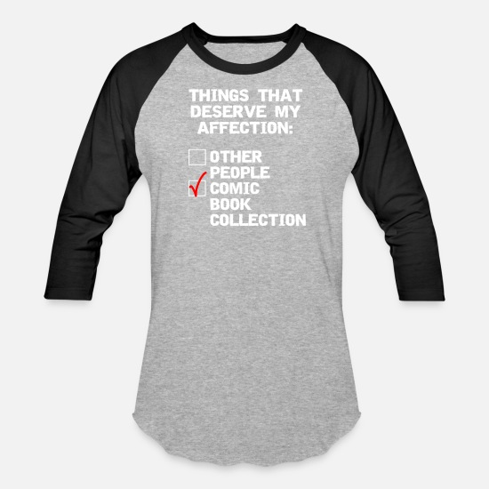 My T-Shirts - Comic book collector funny affection - Unisex Baseball T-Shirt heather gray/black