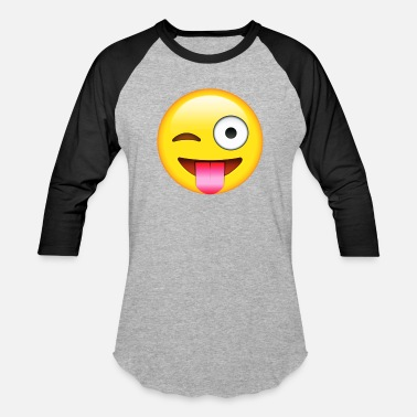 Wink Eyes Face With Stuck out Tongue and winking Eye E-moji - Unisex Baseball T-Shirt