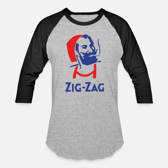 Zig T-Shirts - Zig Zag Man Retro Vintage Company Funny - Unisex Baseball T-Shirt heather gray/black