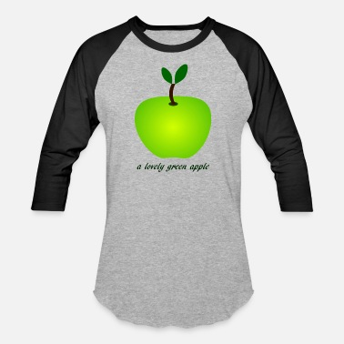 Apple Slogan a lovely green apple apples I love apples - Baseball T-Shirt