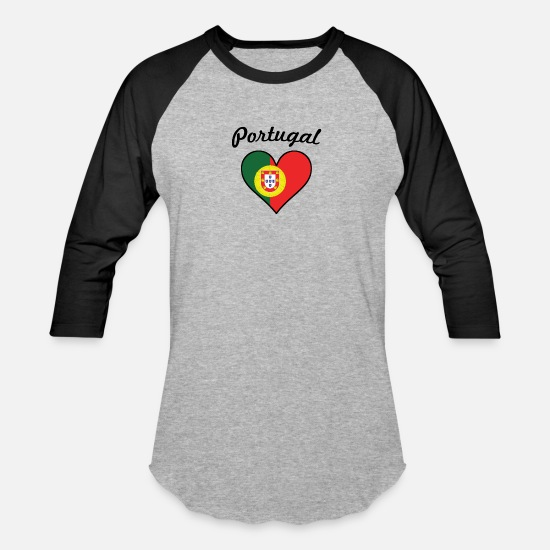 Love T-Shirts - Portugal Flag Heart - Unisex Baseball T-Shirt heather gray/black