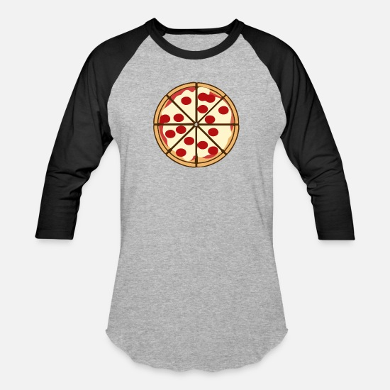 Pizza T-Shirts - Round pizza - Unisex Baseball T-Shirt heather gray/black