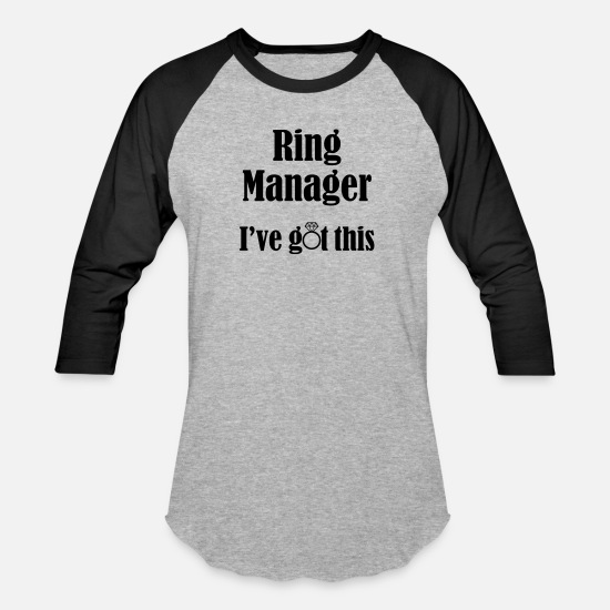 Engagement T-Shirts - Ring Manager, I've Got This, Ring Bearer, Wedding - Unisex Baseball T-Shirt heather gray/black