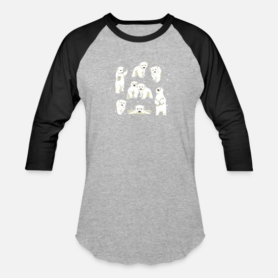 Polar T-Shirts - Cute Polar Bear Cubs - Unisex Baseball T-Shirt heather gray/black