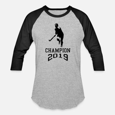 Field Hockey Player In Silhouette Field Hockey Champion 2019 Player Silhouette - Unisex Baseball T-Shirt