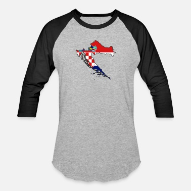 Usta flag Croatia map Hrvatska - Baseball T-Shirt