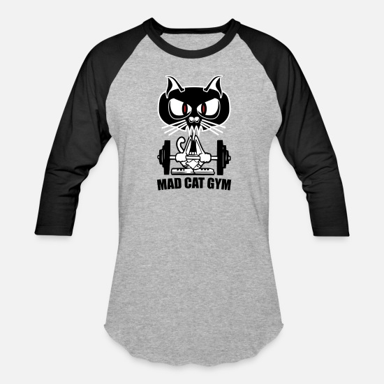 Gym Wear T-Shirts - mad cat gym - Unisex Baseball T-Shirt heather gray/black