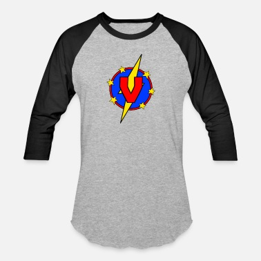 Vincenzo My Little Super Hero Kids & Baby Letter V - Baseball T-Shirt