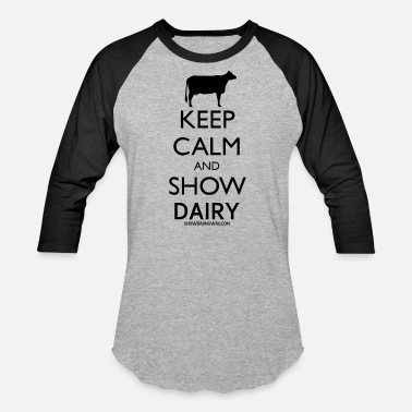 Cow Keep Calm Dairy Black - Baseball T-Shirt