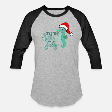 Family CHRISTMAS AT THE BEACH design FLAMINGO SANTA - Unisex Baseball T-Shirt