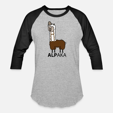 Leather Pants Alpaca with leather pants - Unisex Baseball T-Shirt