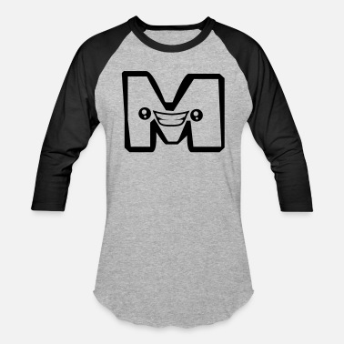 Letter M Cartoon M letter name write cartoon comic face funny alive - Baseball T-Shirt