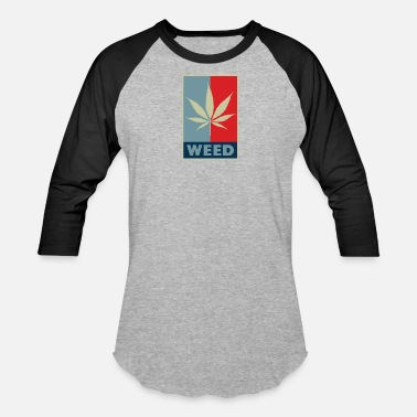 Obama Hope Weed leaf red blue - Baseball T-Shirt