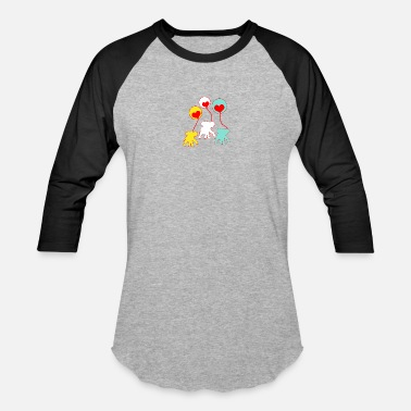 Kindness Yellow White,Yellow and Turquous elephants - Baseball T-Shirt