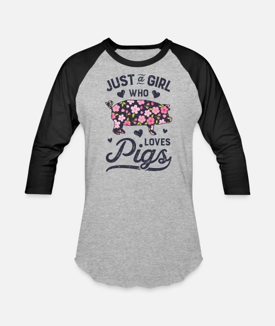 Floral Summer Outfit T-Shirts - Just a Girl who Loves Pigs T Shirt Funny Pig - Unisex Baseball T-Shirt heather gray/black
