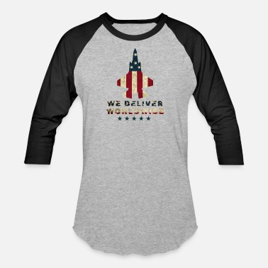 Lockheed We Deliver Worldwide USA Military Fighter Jet Design - Baseball T-Shirt