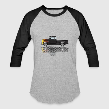 47 53 Black Chevy Truck with Flames - Baseball T-Shirt