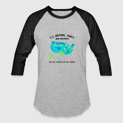 National Park T Shirts Listing all 59 Parks - Baseball T-Shirt