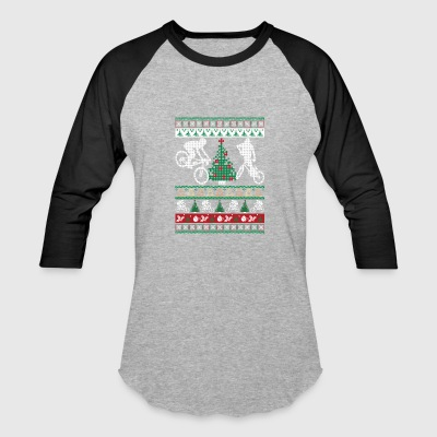BMX Ugly Christmas Sweater Funny Holiday T-Shirt - Baseball T-Shirt