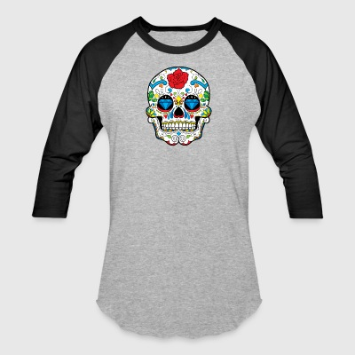 sugar_skull_with_rose - Baseball T-Shirt