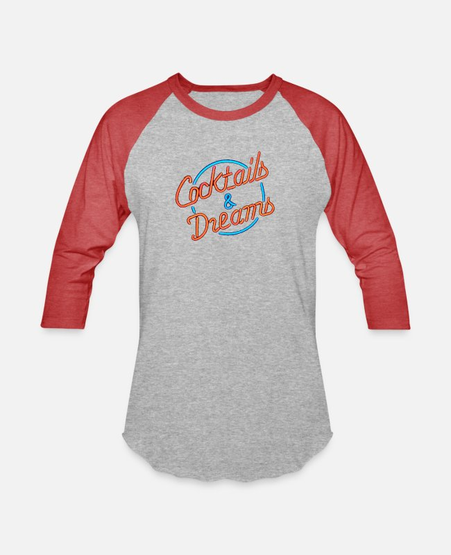 Neon T-Shirts - cocktails & Dreams - Unisex Baseball T-Shirt heather gray/red