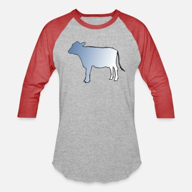 Cow Cut out with Fade - Unisex Baseball T-Shirt