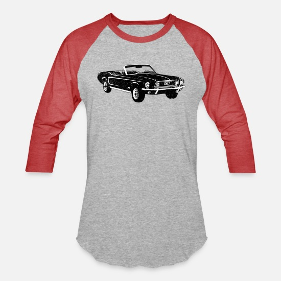 Ford T-Shirts - 1967 Ford Mustang Convertible - Unisex Baseball T-Shirt heather gray/red