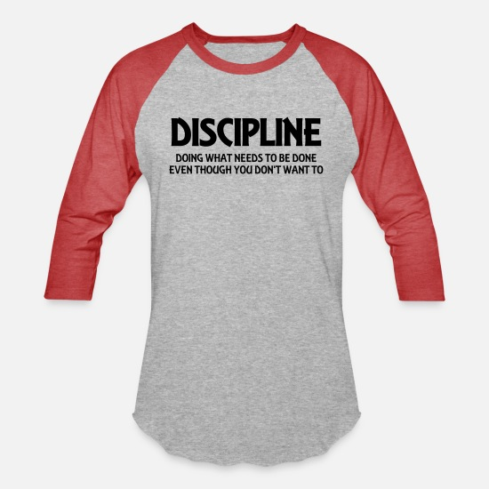 Provocation T-Shirts - Discipline - Unisex Baseball T-Shirt heather gray/red