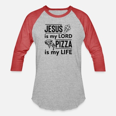 Cross Christianity Pizza Is My Life Funny Christian Quote - Unisex Baseball T-Shirt