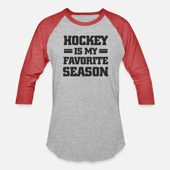 Funny T-Shirts - Hockey Is My Favorite Season - Unisex Baseball T-Shirt heather gray/red