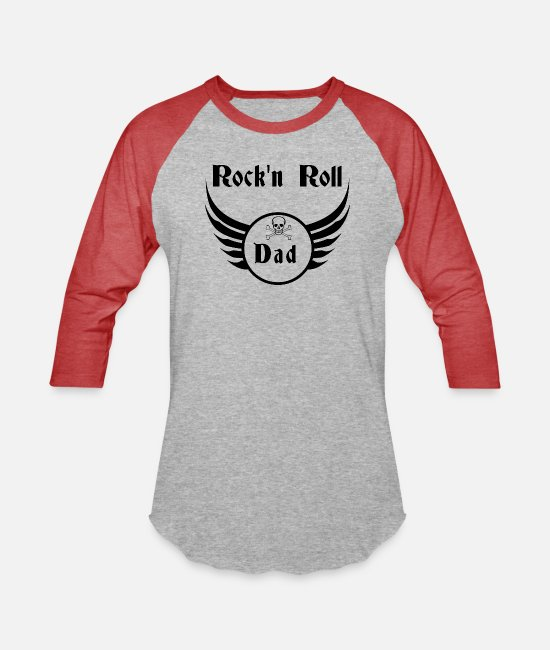 Father's Day T-Shirts - Rock and roll dad - Unisex Baseball T-Shirt heather gray/red