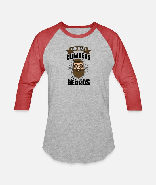 Beard T-Shirts - The Best Climbers Have Beards - Bearded Dad Gift - Unisex Baseball T-Shirt heather gray/red