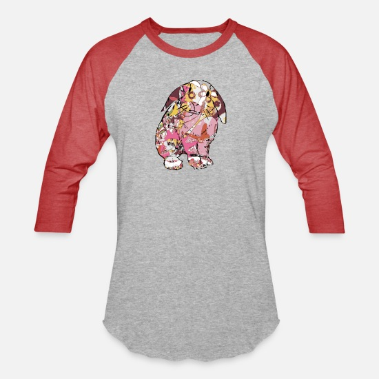 Pink T-Shirts - Cute pink colored bunny - Unisex Baseball T-Shirt heather gray/red