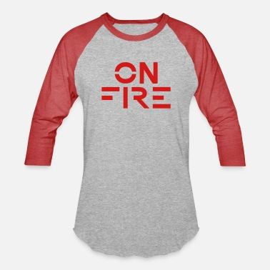 Minimalistic (I am) ON FIRE — Minimalist Typography CustomColor - Unisex Baseball T-Shirt