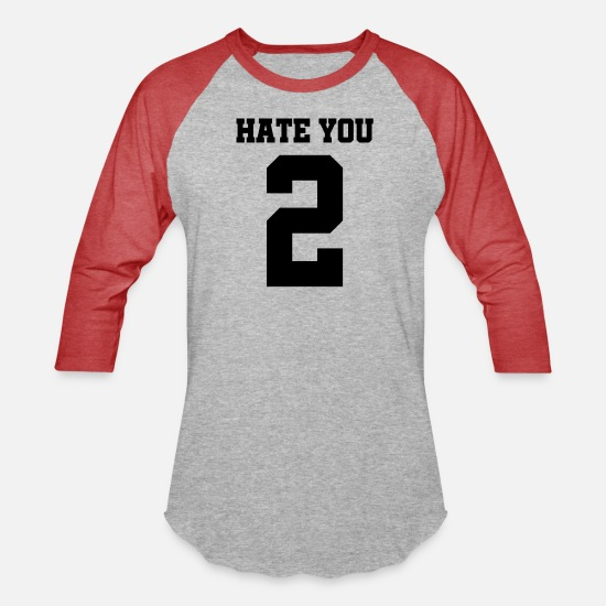 Cool Story T-Shirts - Hate you 2 - Hate you too - Unisex Baseball T-Shirt heather gray/red