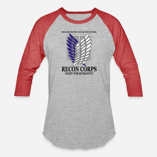Attack T-Shirts - Recon Corps- Attack on Titan - Unisex Baseball T-Shirt heather gray/red