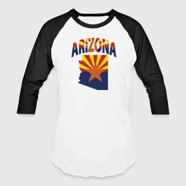 Arizona Flag Map T-Shirt - Baseball T-Shirt
