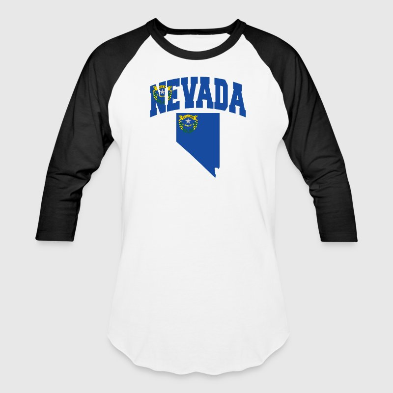 Nevada Map Flag - Baseball T-Shirt