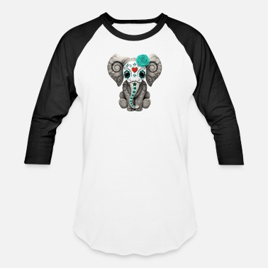 Skull Blue Sugar Skull Elephant - Baseball T-Shirt