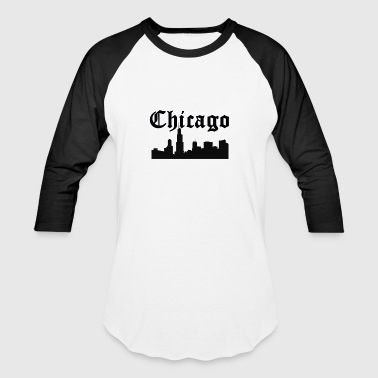 Chicago Skyline Silhouette - Baseball T-Shirt