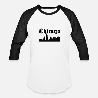 Old English Letters Chicago Skyline Silhouette - Baseball T-Shirt