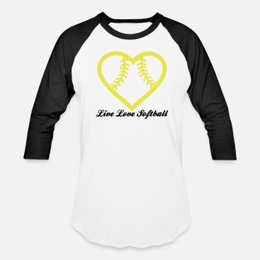 Softball Live Love Softball with Softball heart Design - Baseball T-Shirt