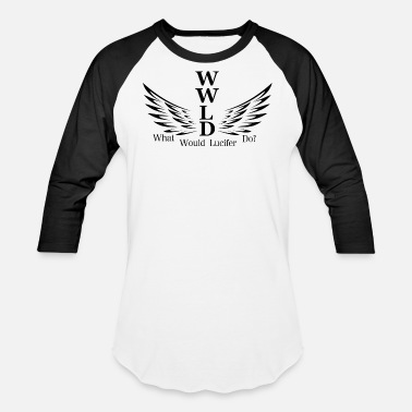 shop lucifer long sleeve shirts online spreadshirt Have Sleeve lucifer wwld wings black baseball t shirt